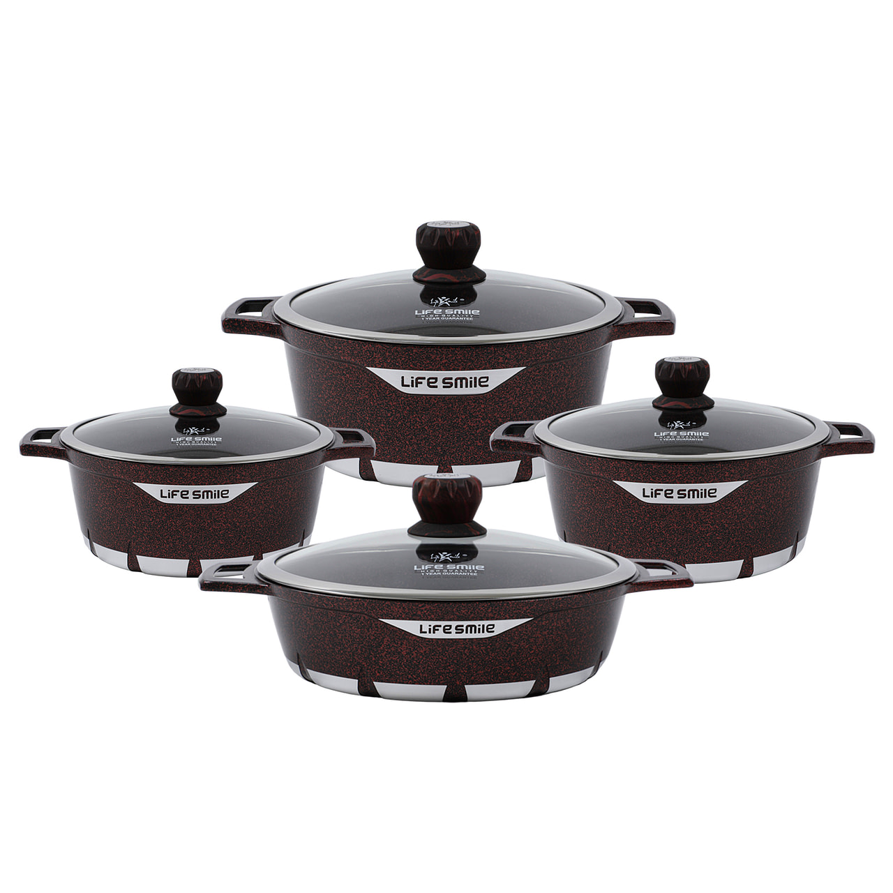 Life Smile 8PCS Cookware Set with Granite Coating