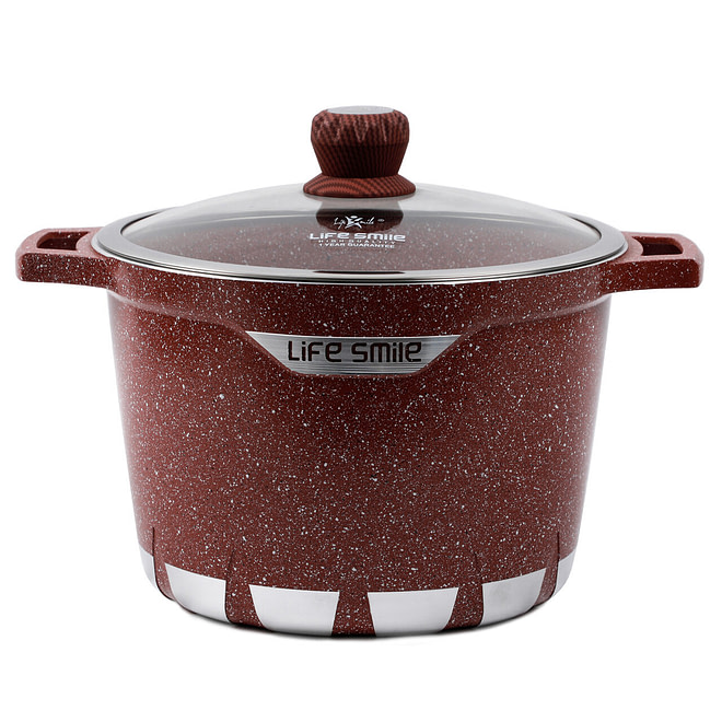 Life smile Stock Pot with Granite Coating 28CM