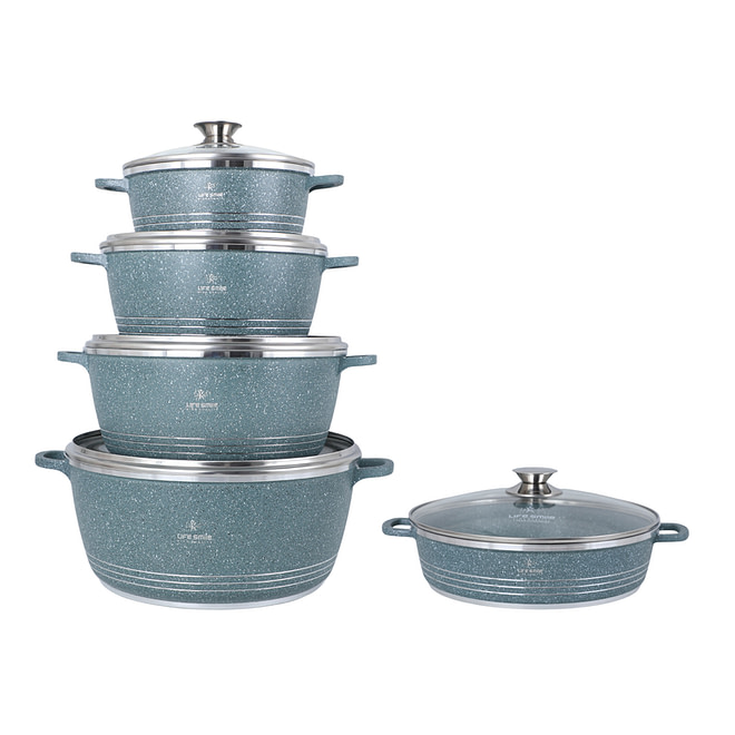 Life Smile 10PCS Granite Coating Cookware Set