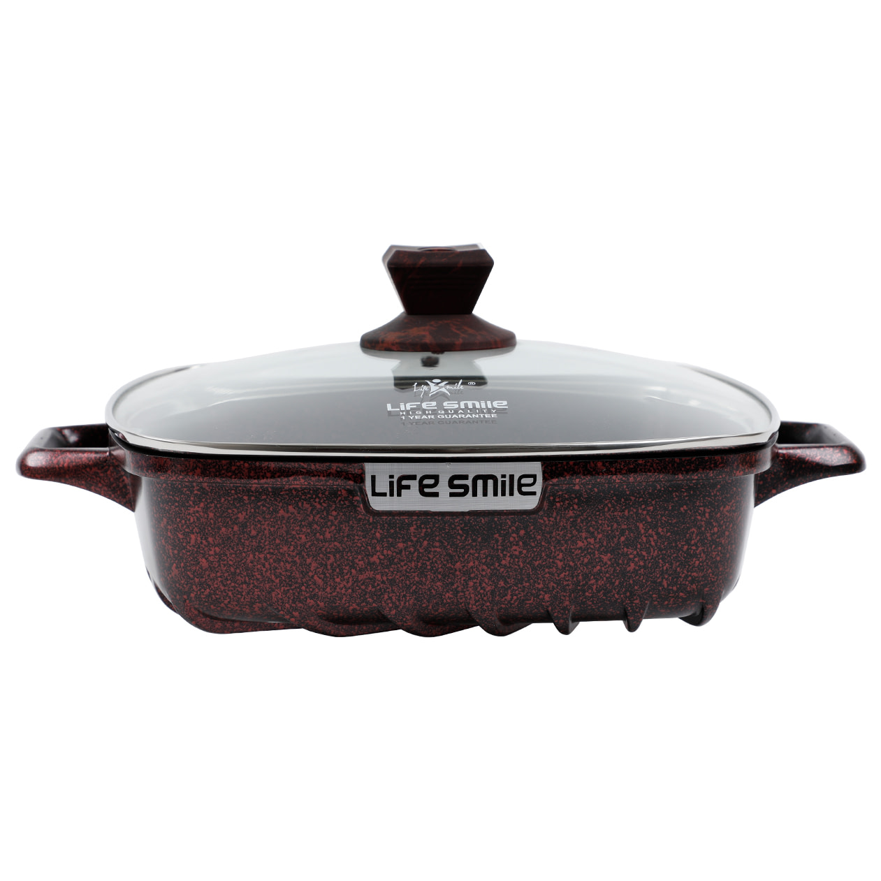 Life Smile Square Shallow Pot with Granite Coating