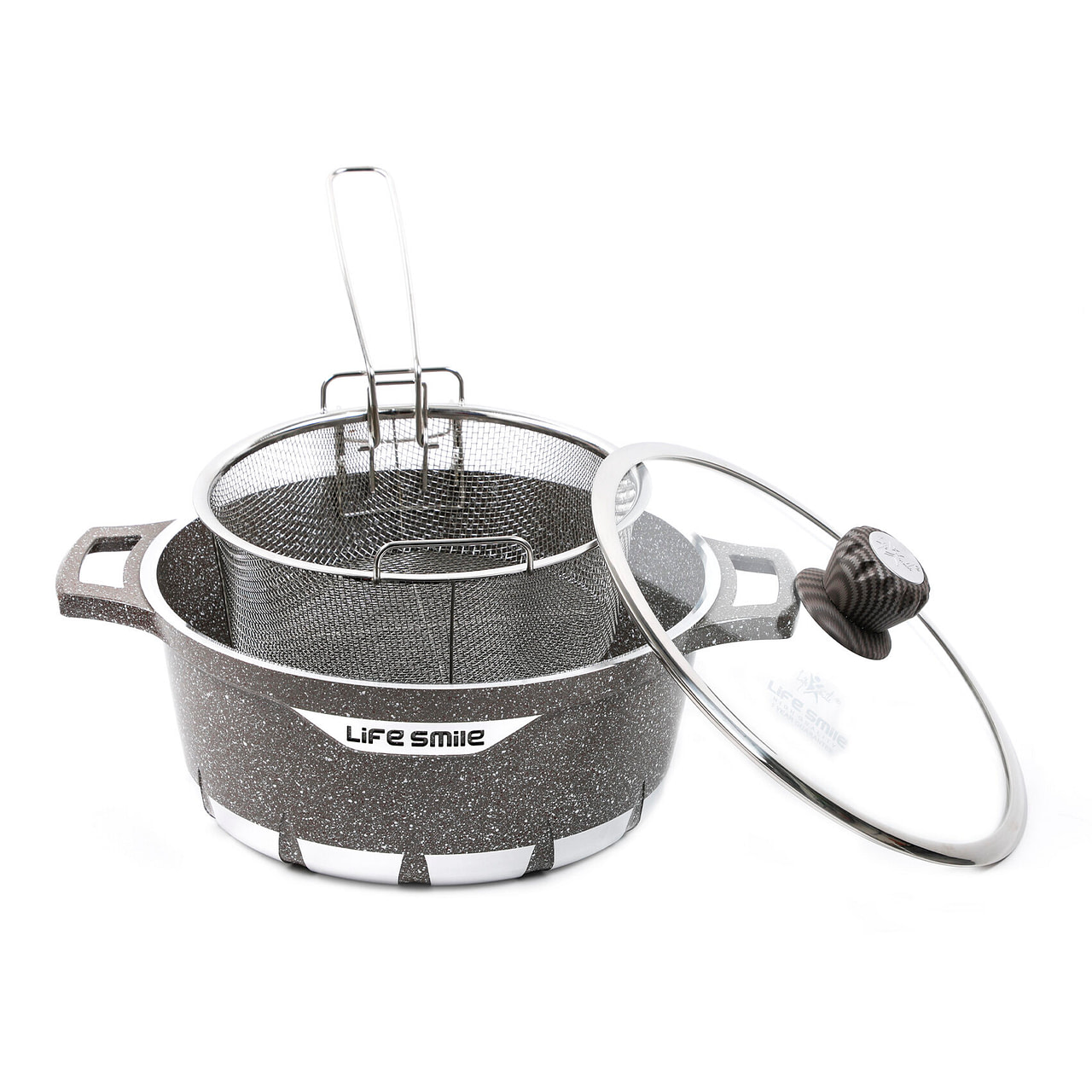 Life Smile Soup Pot with Granite Coating and Frying Basket